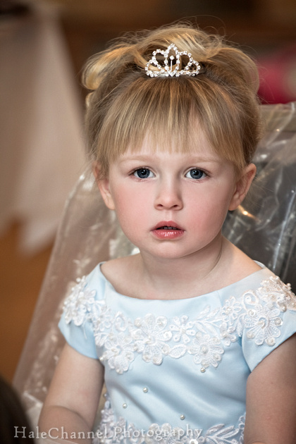 cute blonde toddler flower girl with tiara